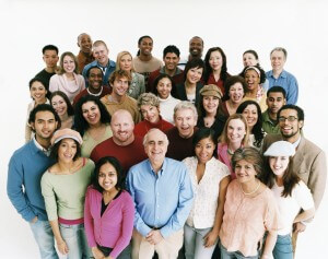 Elevated Studio Shot of a Large Mixed Age, Multiethnic Crowd of Men and Women
